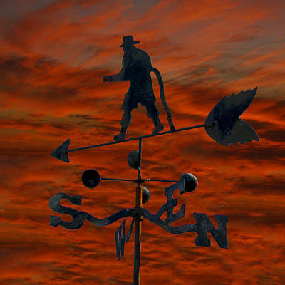 Firefighter Weathervane Print by Gej Jones