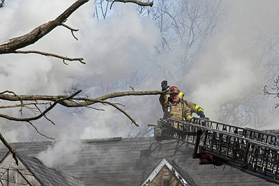 Firefighters Attending A House Fire Print by Jim West