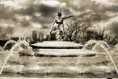 Kansas City Mixed Media - Firefighters Memorial Fountain Bw by Andee Design