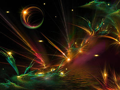 Mix Medium Digital Art - Fireflies Too by Phil Sadler