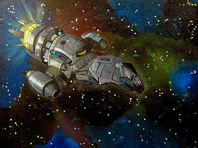 Space Ships Painting - Firefly Serenity Ship by Michelle Eshleman
