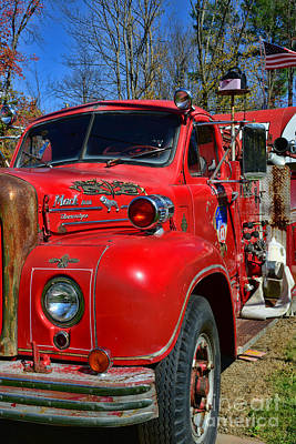 Fireman - A Very Old Fire Truck Print by Paul Ward