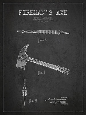Fireman Drawing - Fireman Axe Patent Drawing From 1940 by Aged Pixel