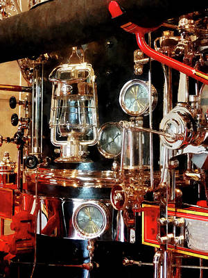 Steampunk Photograph - Fireman - Lantern And Gauges On Fire Truck by Susan Savad