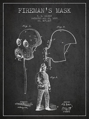Firemans Mask Patent From 1889 - Dark Print by Aged Pixel