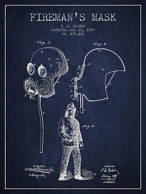 Firemans Mask Patent From 1889 - Navy Blue Print by Aged Pixel
