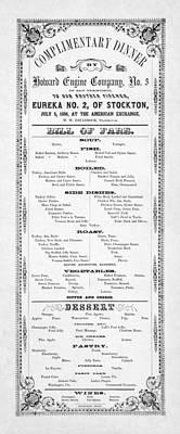 Firemen Dinner Menu - San Francisco - 1856 Print by Daniel Hagerman