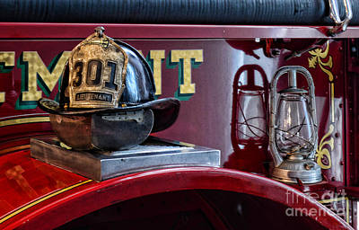 Firemen - Fire Helmet Lieutenant Print by Paul Ward