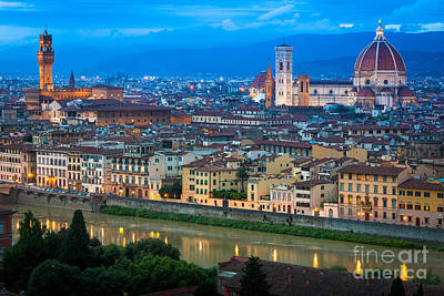 Firenze By Night Print by Inge Johnsson