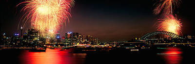 Firework Display At New Years Eve Print by Panoramic Images