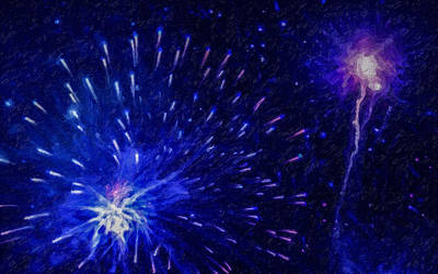 Fireworks Display Painting - Fireworks At Night 1 by Lanjee Chee