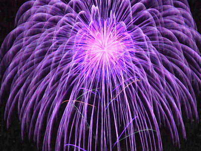 Fireworks Display Painting - Fireworks At Night 2 by Lanjee Chee