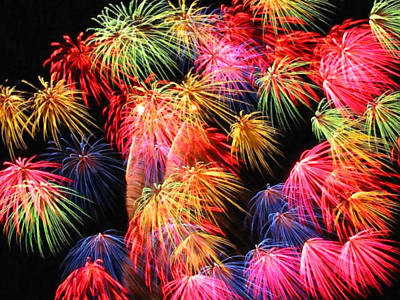 Fireworks Display Painting - Fireworks At Night by Lanjee Chee
