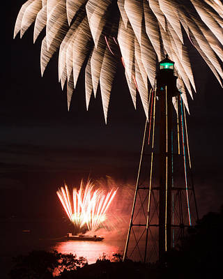 Lighthouse Photograph - Fireworks Both High And Low At Chandler Hovey Park In Marblehead by Jeff Folger