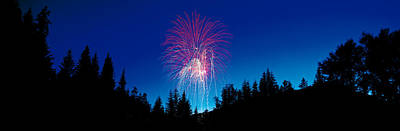 Bursting Photograph - Fireworks, Canada Day, Banff National by Panoramic Images