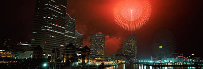 Fireworks Display In The Sky, Minato Print by Panoramic Images