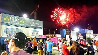 Fireworks Erupt Over The Bullpen Print by Kenny Glover
