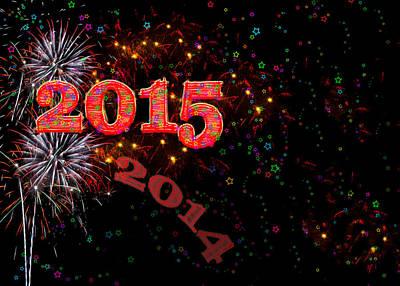 Fireworks Happy New Year 2015 Print by Marianne Campolongo