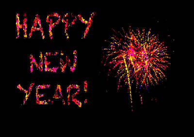 Fireworks Happy New Year In Pink Print by Marianne Campolongo
