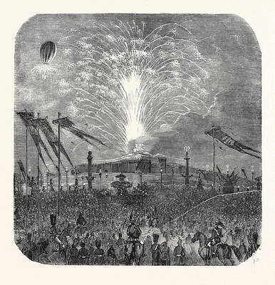 Fireworks Drawing - Fireworks In The Place De La Concorde by English School