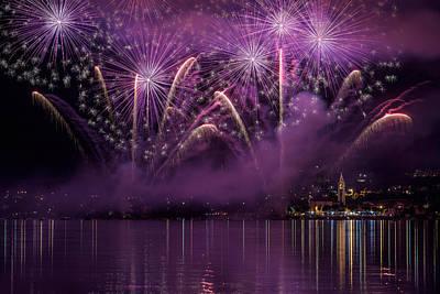 Fireworks Lake Pusiano Print by Roberto Marini