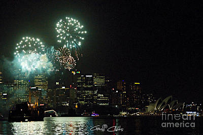 Royal Australian Navy Photograph - Fireworks - Navy Centenary. by Geoff Childs
