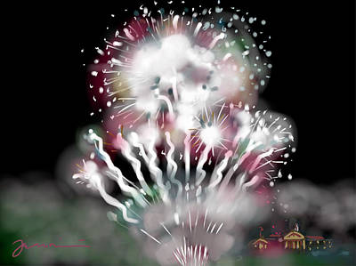 Fireworks Drawing - Fireworks On High School Hill by Jean Pacheco Ravinski