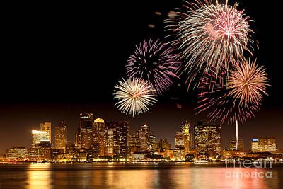 Fiesta Photograph - Fireworks Over Boston Harbor by Susan Cole Kelly