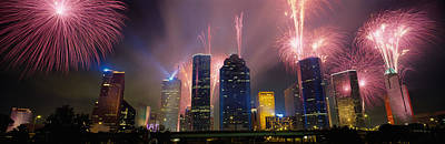 Fireworks Over Buildings In A City Print by Panoramic Images
