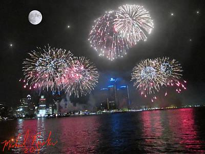 Fireworks Over Detroit Original by Michael Rucker