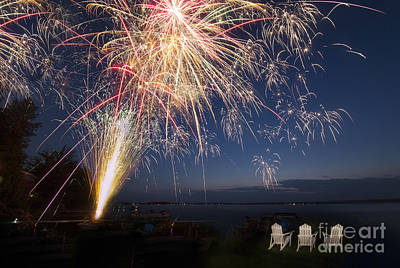 Fireworks Over The Lake Print by Twenty Two North Photography