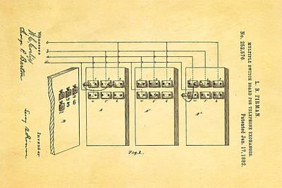 Antique Telephone Photograph - Firman Telephone Exchange Patent Art 1882 by Ian Monk