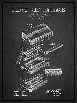 First Aid Package Patent From 1917 - Charcoal Print by Aged Pixel
