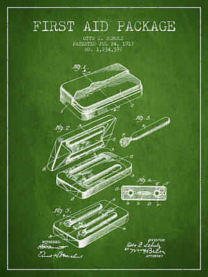 First Aid Package Patent From 1917 - Green Print by Aged Pixel