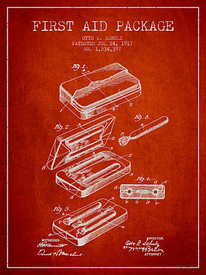 First Aid Package Patent From 1917 - Red Print by Aged Pixel