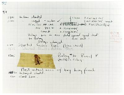 Harvard Photograph - First 'computer Bug' by Us Navy, Us Naval Historical Center