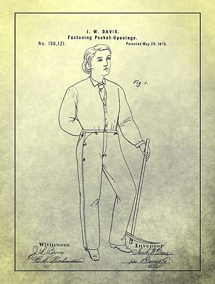 Levis Drawing - First Denim Jeans Patent by Dan Sproul