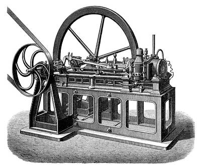 First Gas Engine Print by Science Photo Library