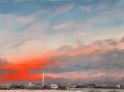 Inauguration Painting - First Inaugural Sunrise From Iwo Jima Memorial by William Van Doren