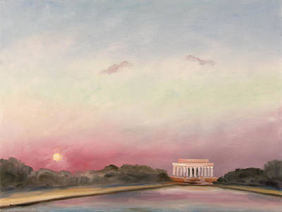 Lincoln Memorial Painting - First Inaugural Sunset 20 January 2009 by William Van Doren