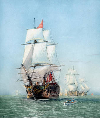 First Journey Of The Hms Victory Print by War Is Hell Store