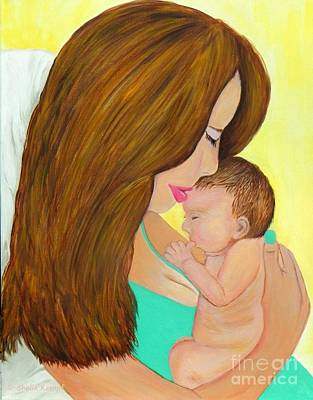 First Kiss- Mother And Newborn Baby Original by Shelia Kempf