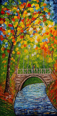 Water Theme Painting - First Kiss On The Bridge Original Acrylic Palette Knife Painting by Georgeta Blanaru