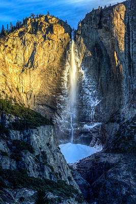 First Light On Yosemite Falls Print by Mike Lee