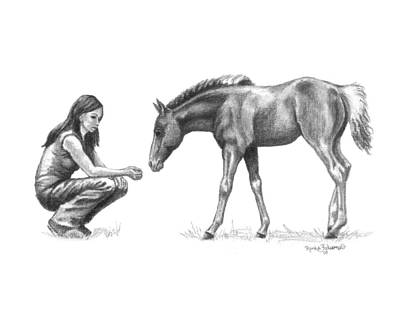 Horse Crazy Drawing - First Love Girl With Horse Foal by Renee Forth-Fukumoto