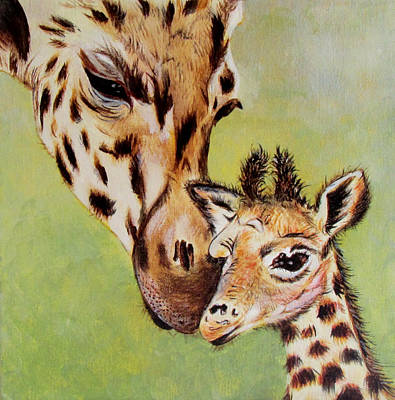 Mother And Baby Giraffe Painting - First Love by Susan Duxter