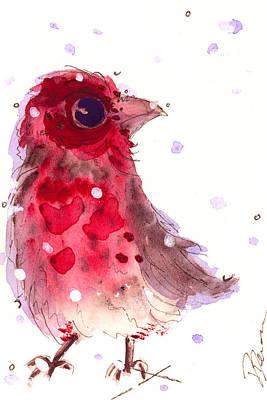 First Snow Finch Original by Dawn Derman