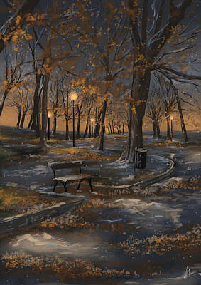 Snowy Night Painting - First Snowfall by Veronica Minozzi