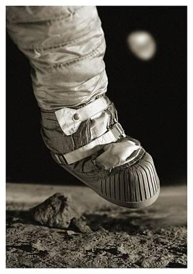 First Step On The Moon Print by Detlev Van Ravenswaay