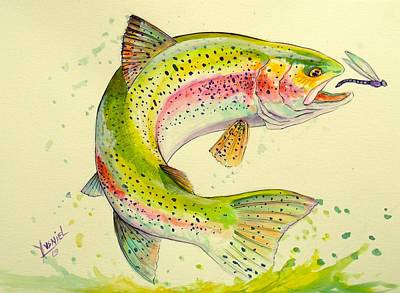 Brook Trout Painting - Fish After Dragon by Yusniel Santos